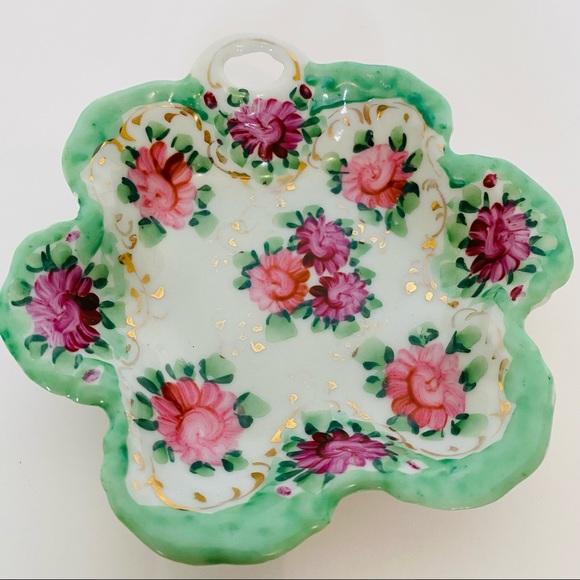 Vintage hand painted trinket dish porcelain